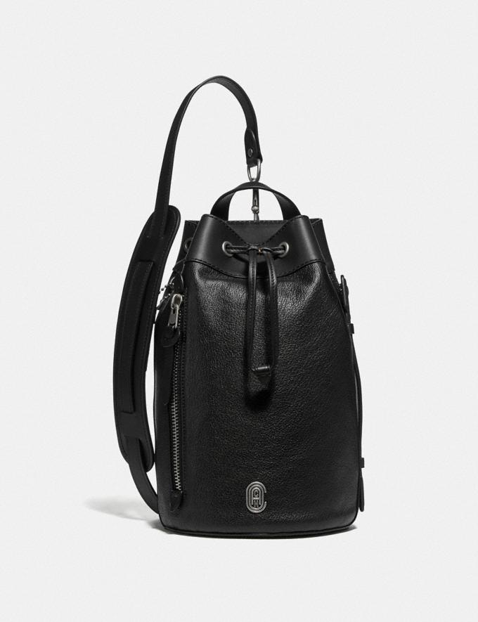 Coach Drawstring Crossbody With Coach Patch Black/Light Antique Nickel Men Bags Messenger Bags