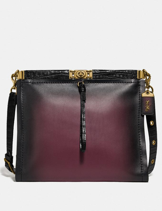 Coach Troupe Shoulder Bag 34 With Crocodile Detail Oxblood Multi/Brass Women Collection Troupe