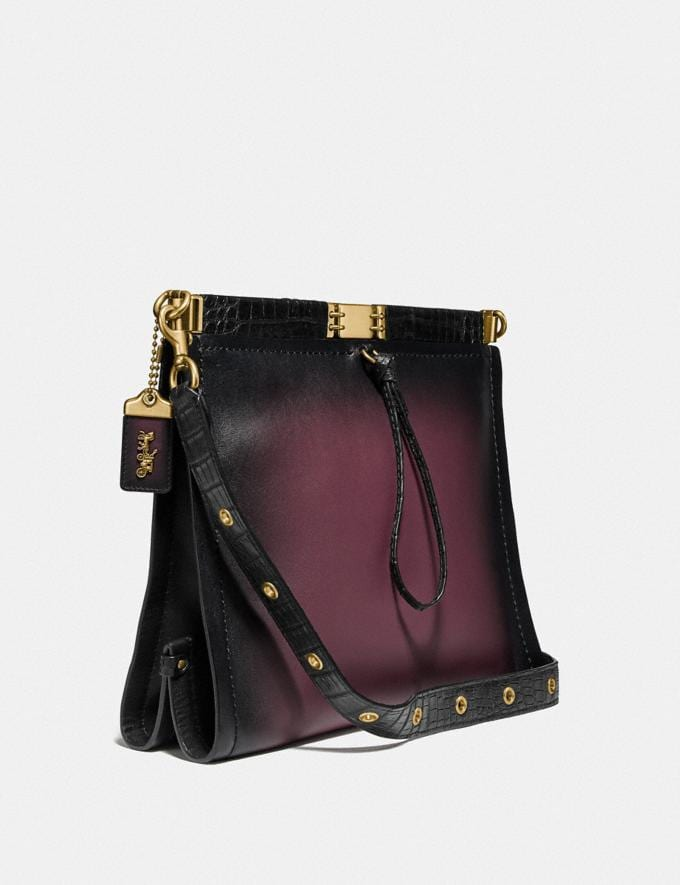 Coach Troupe Shoulder Bag 34 With Crocodile Detail Oxblood Multi/Brass Women Collection Troupe Alternate View 1