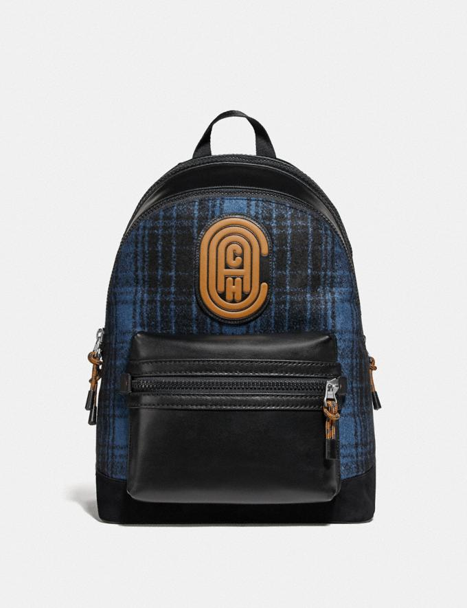 Coach Academy Backpack With Coach Patch Blue/Black/Light Antique Nickel Cyber Monday Men's Cyber Monday Sale Bags