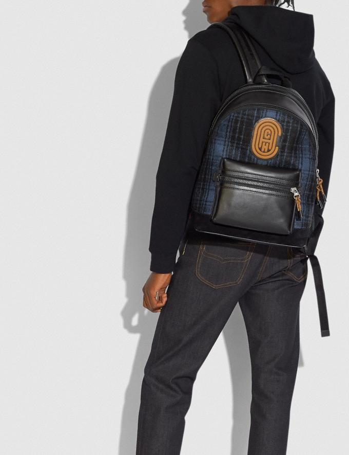 Coach Academy Backpack With Coach Patch Blue/Black/Light Antique Nickel Cyber Monday Men's Cyber Monday Sale Bags Alternate View 3