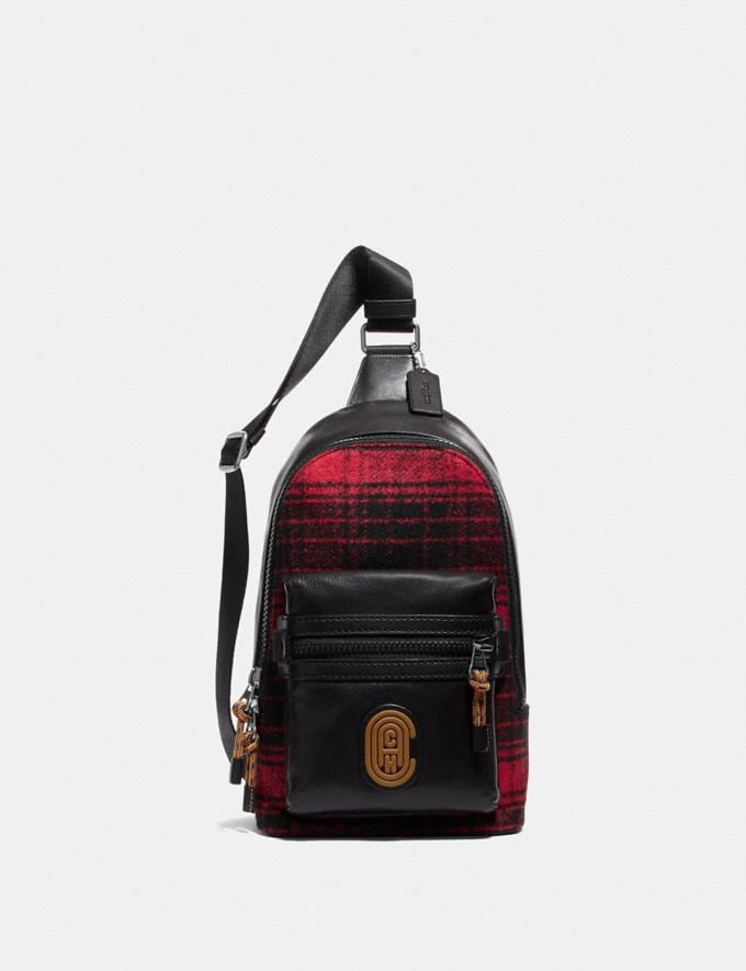 Coach Academy Pack With Coach Patch Red/Black/Light Antique Nickel Cyber Monday Men's Cyber Monday Sale Bags