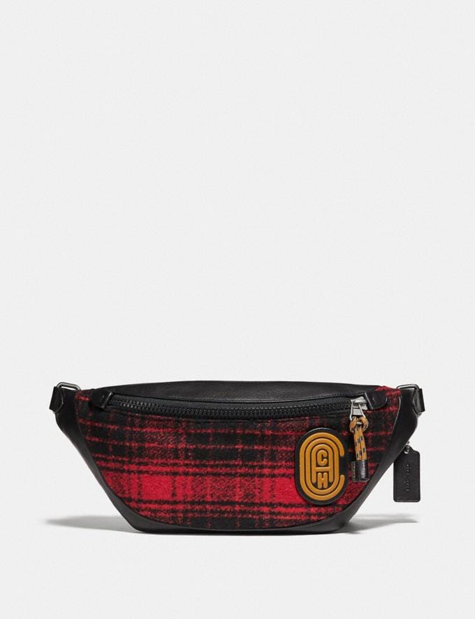 Coach Rivington Belt Bag With Coach Patch Red/Black/Light Antique Nickel Cyber Monday Men's Cyber Monday Sale Bags