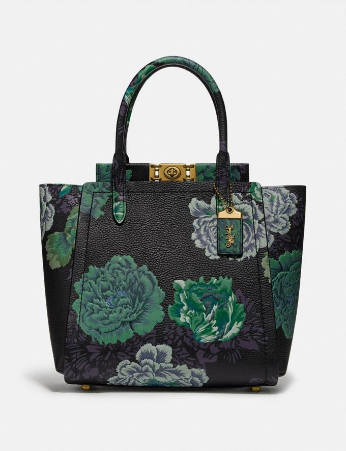 Coach Troupe Tote With Kaffe Fassett Print Green Multi/Brass Women Collection Troupe