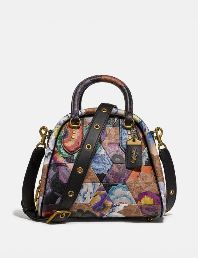 Coach Marleigh Satchel in Signature Canvas With Patchwork Kaffe Fassett Print Tan Multi/Brass Women Handbags Satchels & Carryalls
