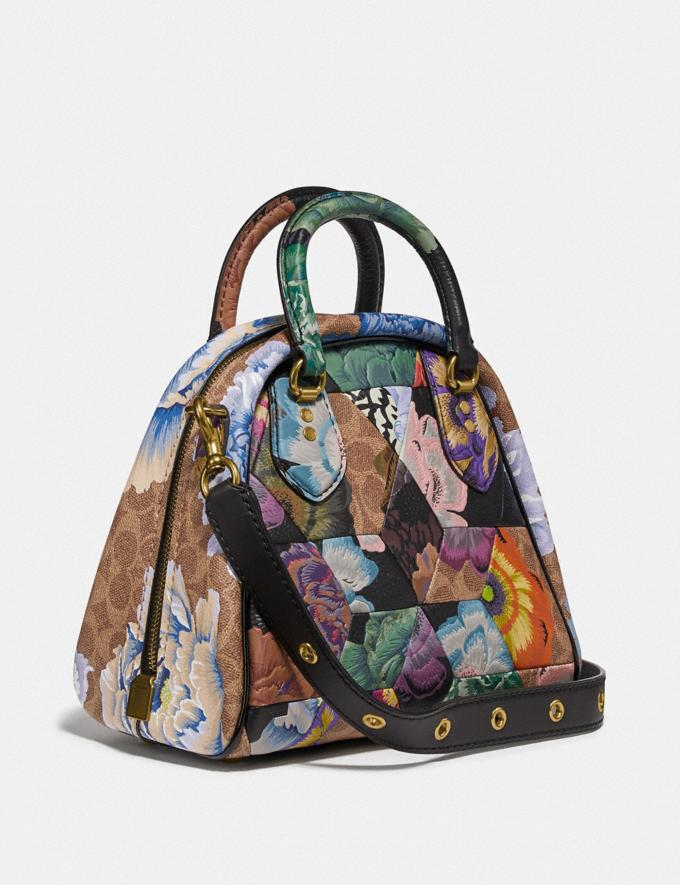 Coach Marleigh Satchel in Signature Canvas With Patchwork Kaffe Fassett Print Tan Multi/Brass Women Handbags Satchels & Carryalls Alternate View 1