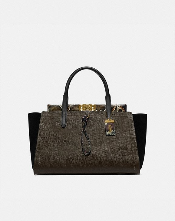 Coach TROUPE CARRYALL 35 IN COLORBLOCK WITH SNAKESKIN DETAIL