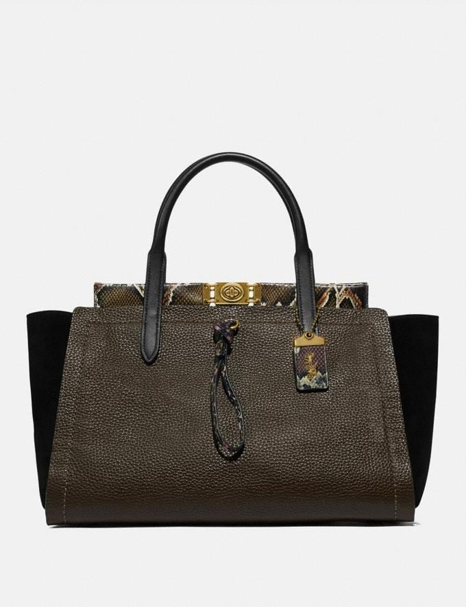 Coach Troupe Carryall 35 in Colorblock With Snakeskin Detail Army Green Multi/Brass New Women's New Arrivals Collection