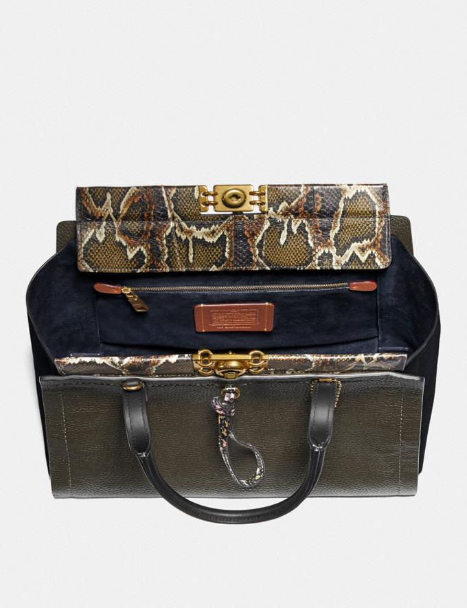 Coach Troupe Carryall 35 in Colorblock With Snakeskin Detail Army Green Multi/Brass Women Bags Satchels Alternate View 2