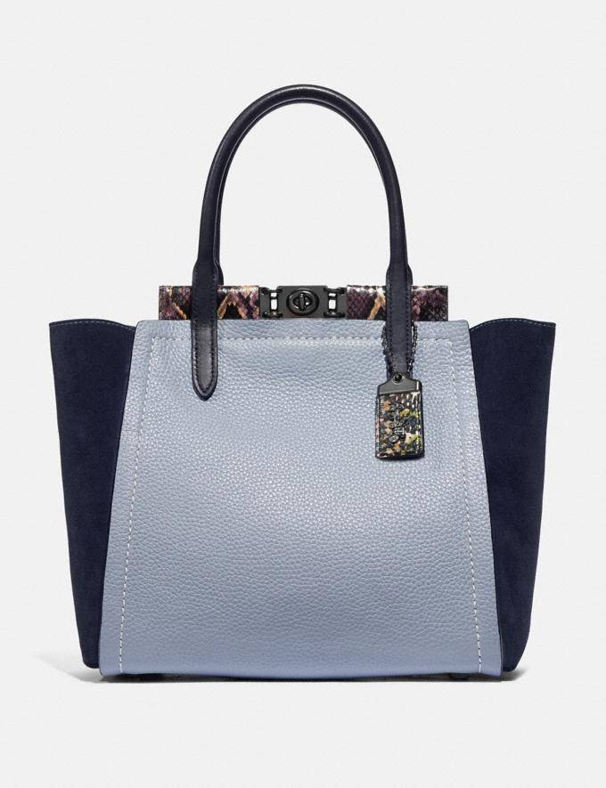 Coach Troupe Tote in Colorblock With Snakeskin Detail Mist Multi/Pewter Women Handbags Satchels & Top Handles