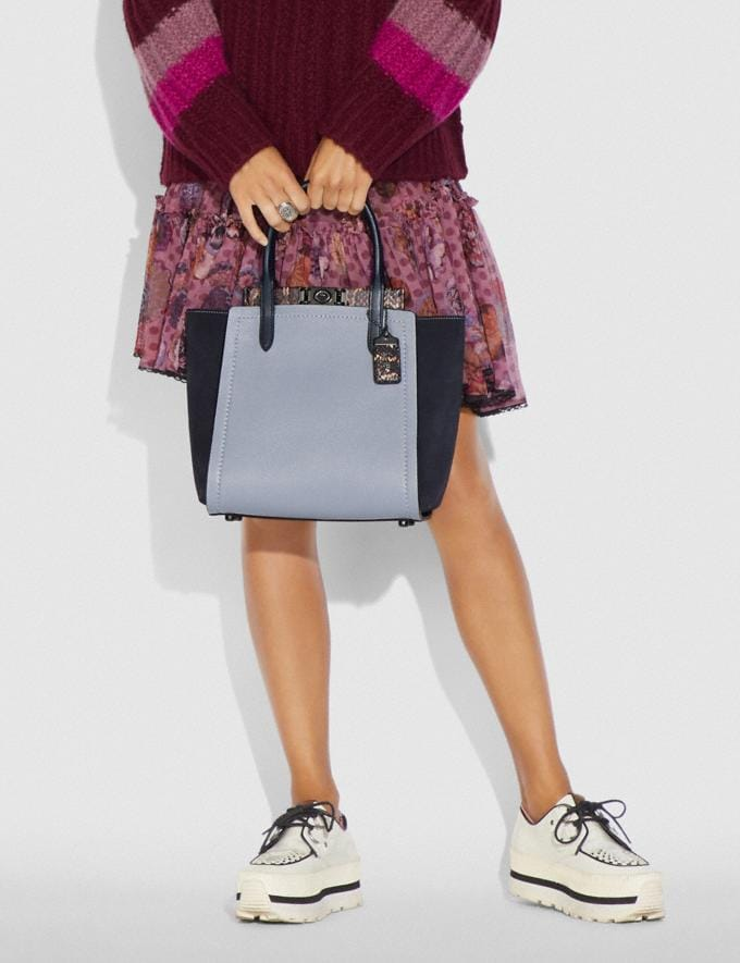 Coach Troupe Tote in Colorblock With Snakeskin Detail Mist Multi/Pewter Women Collection Troupe Alternate View 3