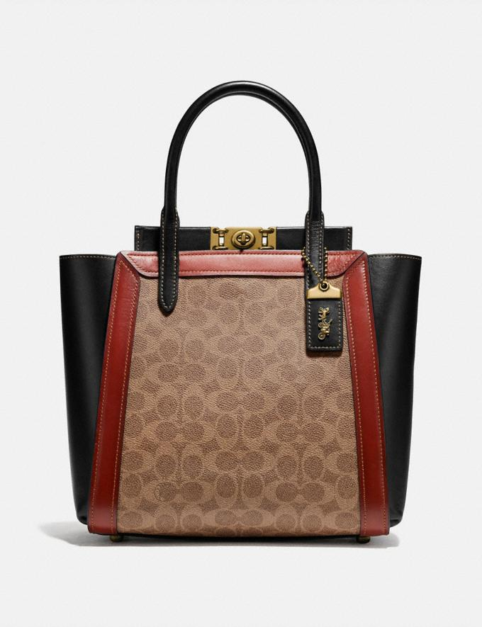 Coach Troupe Tote in Signature Canvas Tan/Rust/Brass New Featured Signature Styles