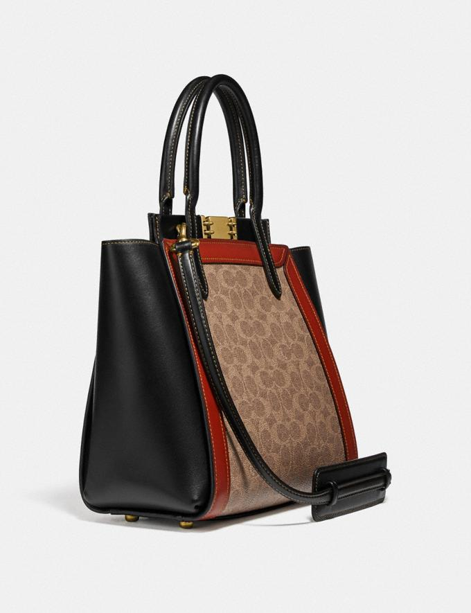 Coach Troupe Tote in Signature Canvas Tan/Rust/Brass New Women's New Arrivals Collection Alternate View 1