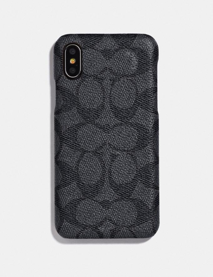 Coach iPhone X/Xs Case in Signature Canvas Charcoal Women Accessories Phone Cases