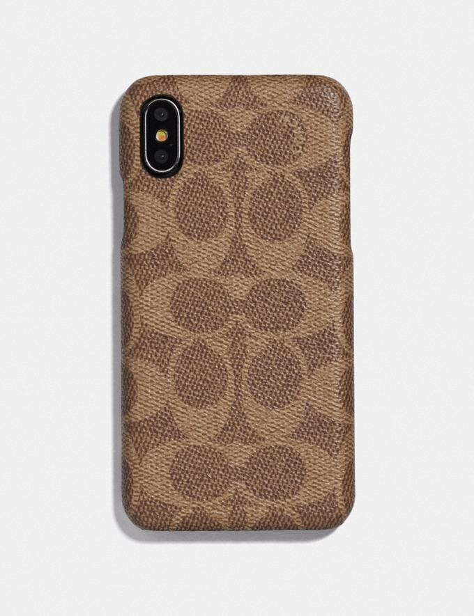 Coach iPhone X/Xs Case in Signature Canvas Tan Men Accessories