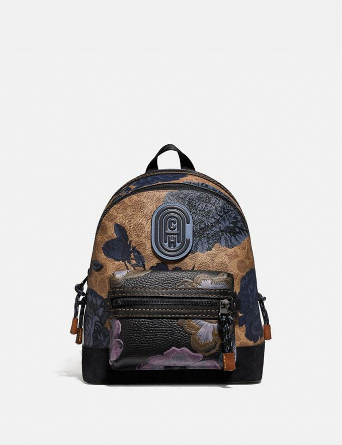 Coach Academy Backpack 23 in Signature Canvas With Kaffe Fassett Print Tan Black Multi/Pewter New Women's New Arrivals Collection