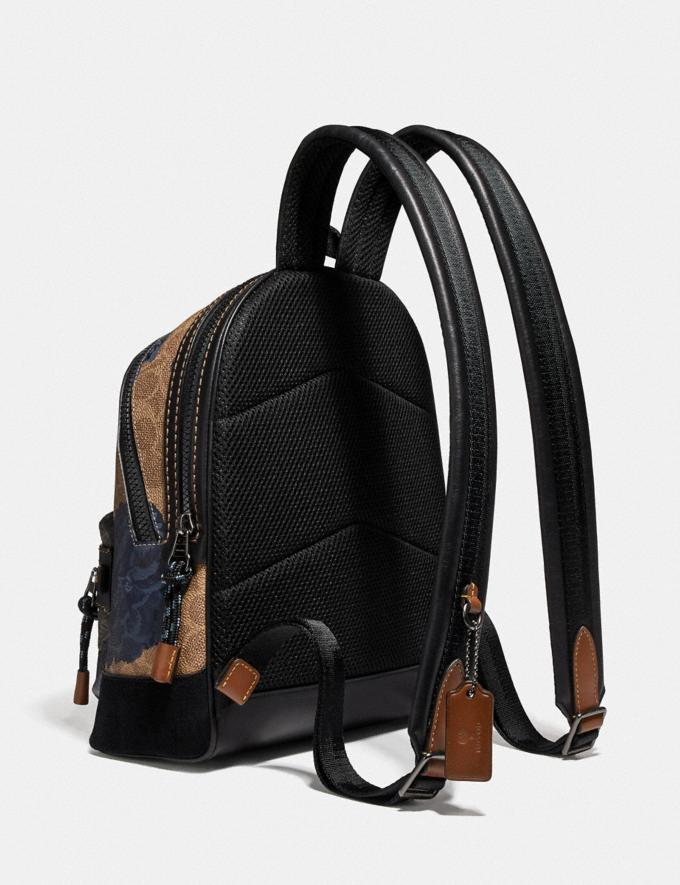 Coach Academy Backpack 23 in Signature Canvas With Kaffe Fassett Print Tan Black Multi/Pewter New Women's New Arrivals Collection Alternate View 1