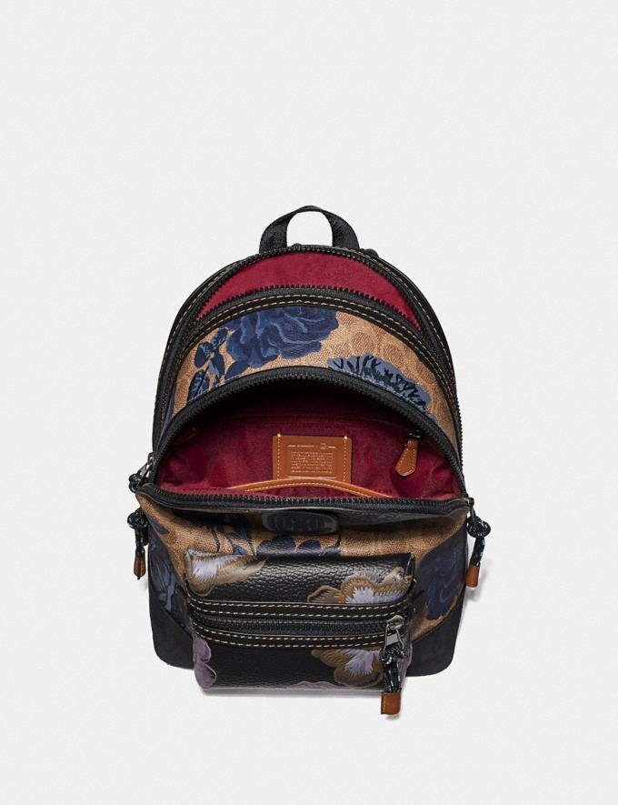 Coach Academy Backpack 23 in Signature Canvas With Kaffe Fassett Print Tan Black Multi/Pewter New Women's New Arrivals Collection Alternate View 2