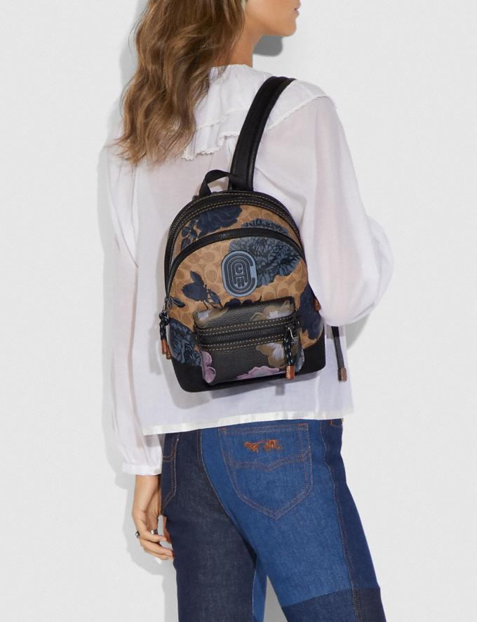 Coach Academy Backpack 23 in Signature Canvas With Kaffe Fassett Print Tan Black Multi/Pewter New Women's New Arrivals Collection Alternate View 3