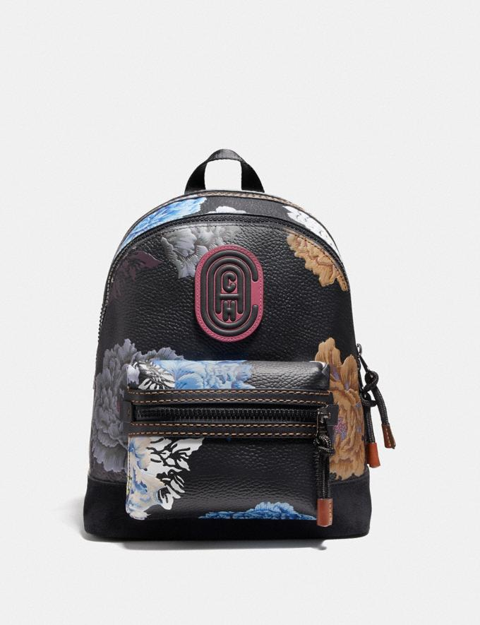 Coach Academy Backpack 23 With Kaffe Fassett Print Black Multi/Pewter New Women's New Arrivals Collection