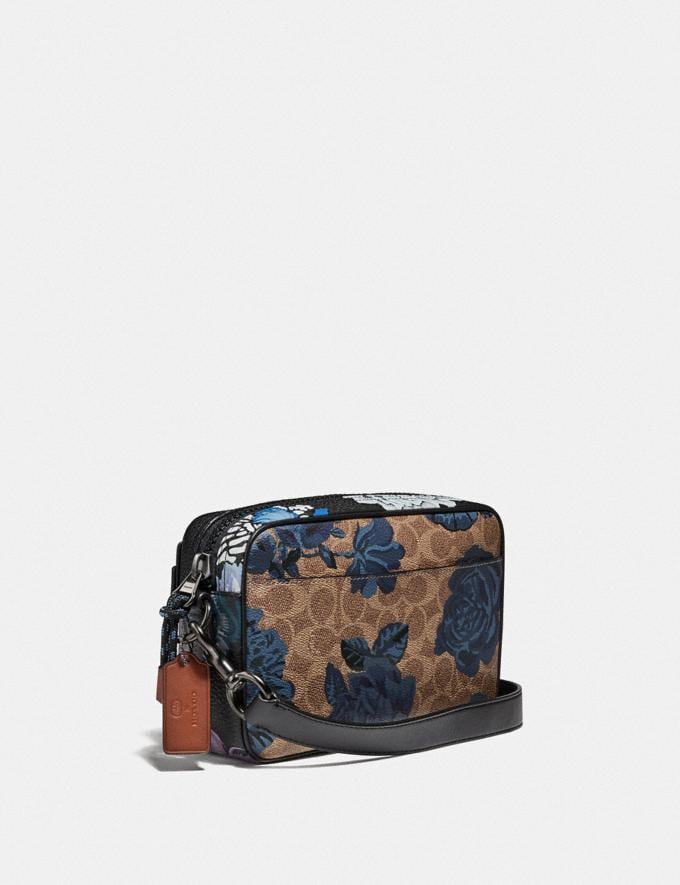 Coach Academy Crossbody in Signature Canvas With Kaffe Fassett Print Tan Blue Multi/Pewter New Women's New Arrivals Collection Alternate View 1