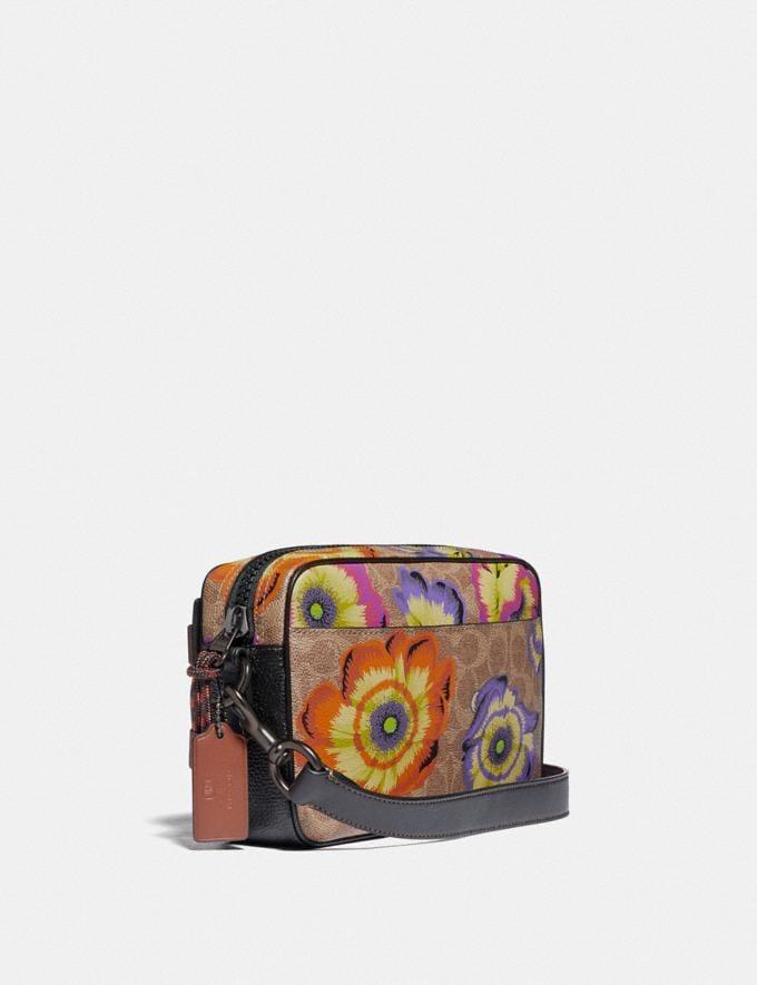 Coach Academy Crossbody in Signature Canvas With Kaffe Fassett Print Tan/Multi/Pewter Women Handbags Crossbody Bags Alternate View 1