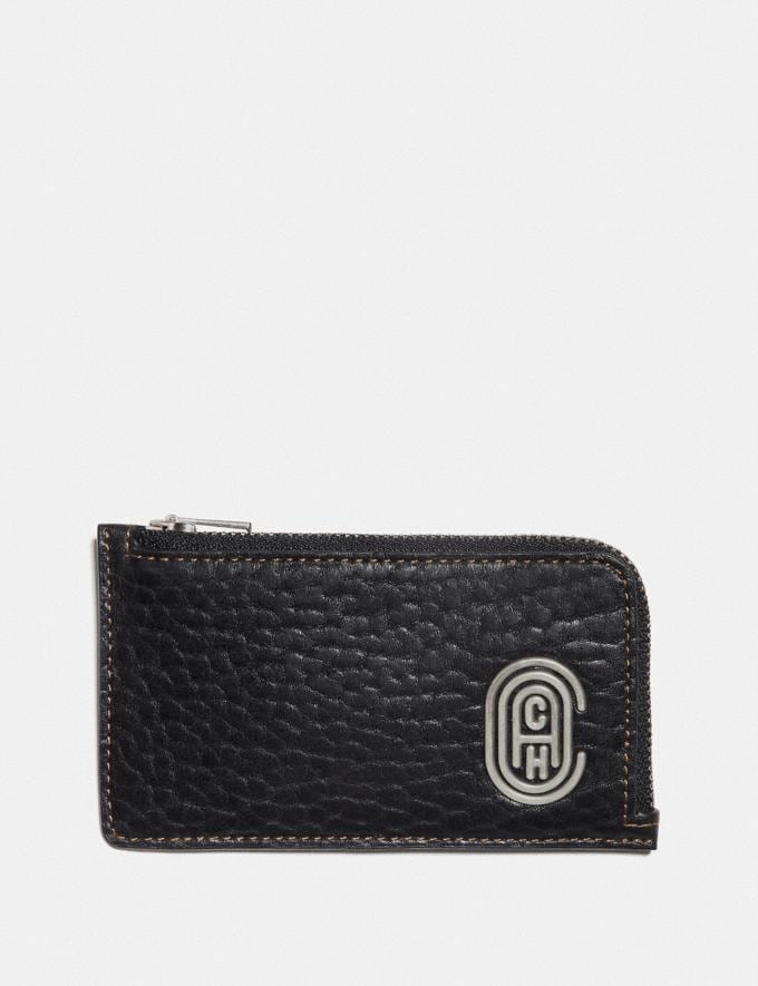 Coach L-Zip Card Case With Coach Patch Black Men Wallets Card Cases