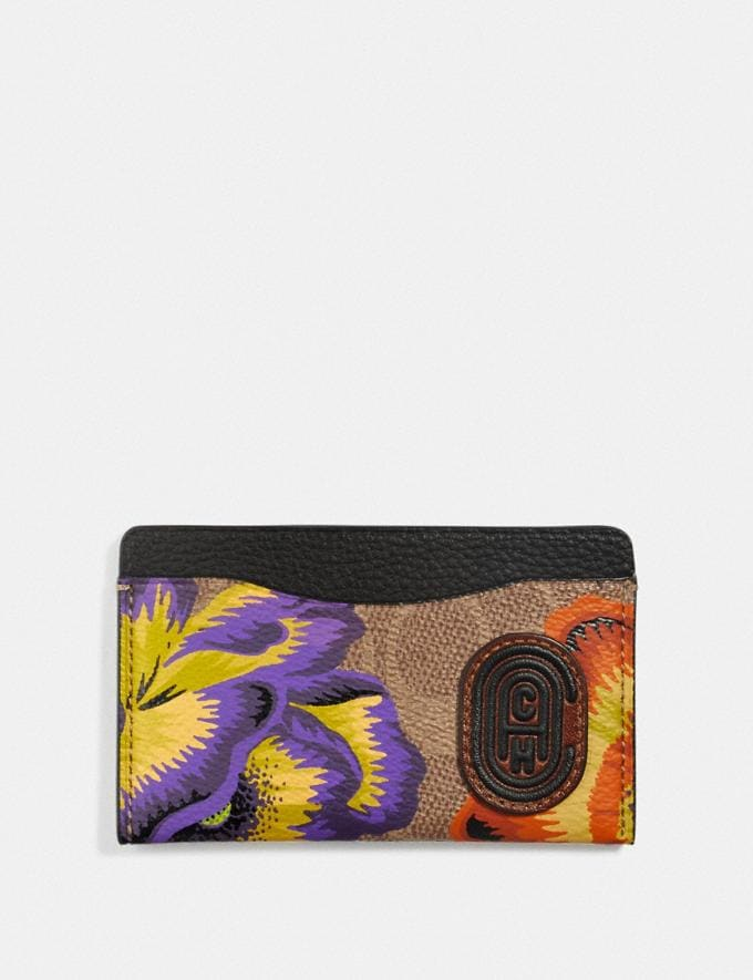 Coach Small Card Case in Signature Canvas With Kaffe Fassett Print Tan/Multi/Pewter Women Wallets & Wristlets Card Cases