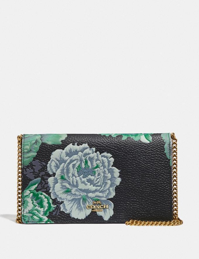 Coach Callie Foldover Chain Clutch With Kaffe Fassett Print Green Multi/Brass Women Accessories