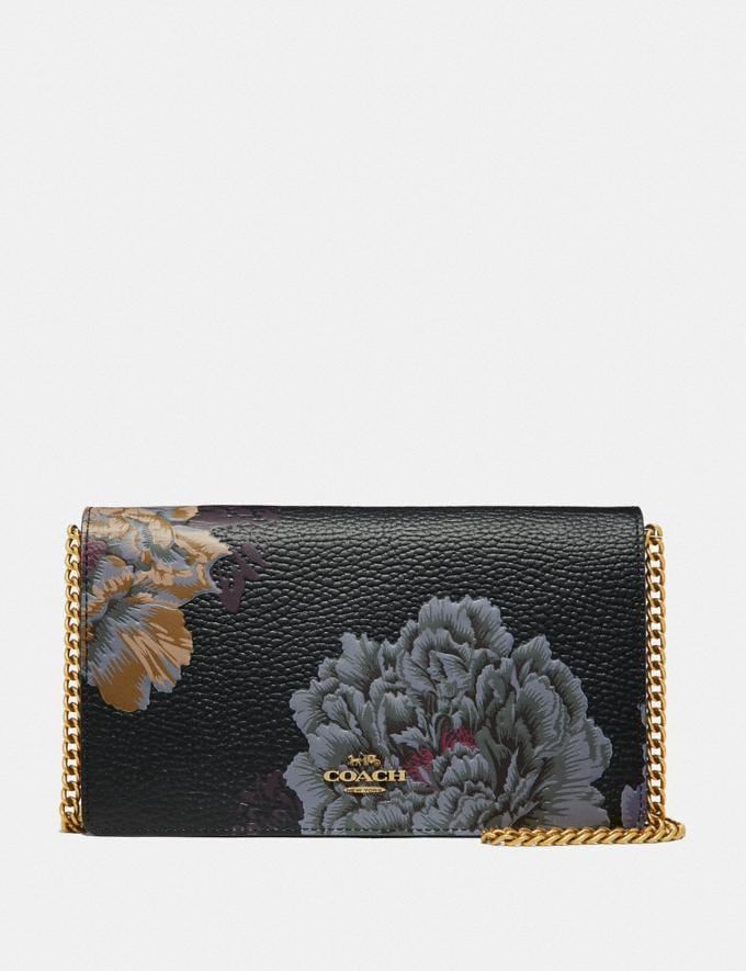 Coach Callie Foldover Chain Clutch With Kaffe Fassett Print Black Multi/Brass Cyber Monday Online Only Cyber Monday Sale Bags