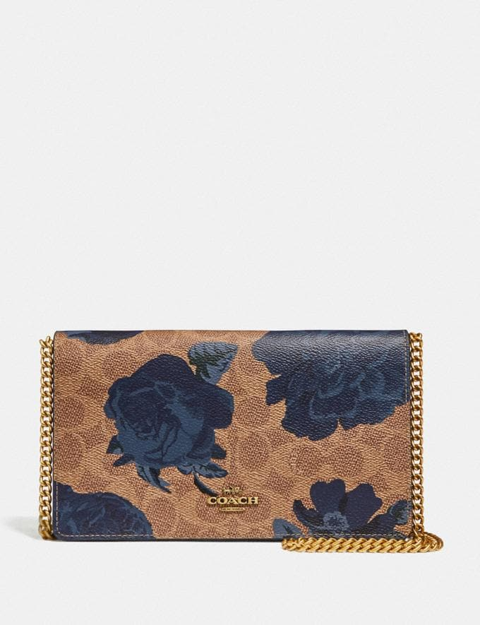 Coach Callie Foldover Chain Clutch in Signature Canvas With Kaffe Fassett Print B4/Tan Blue Multi Women Small Leather Goods Wristlets
