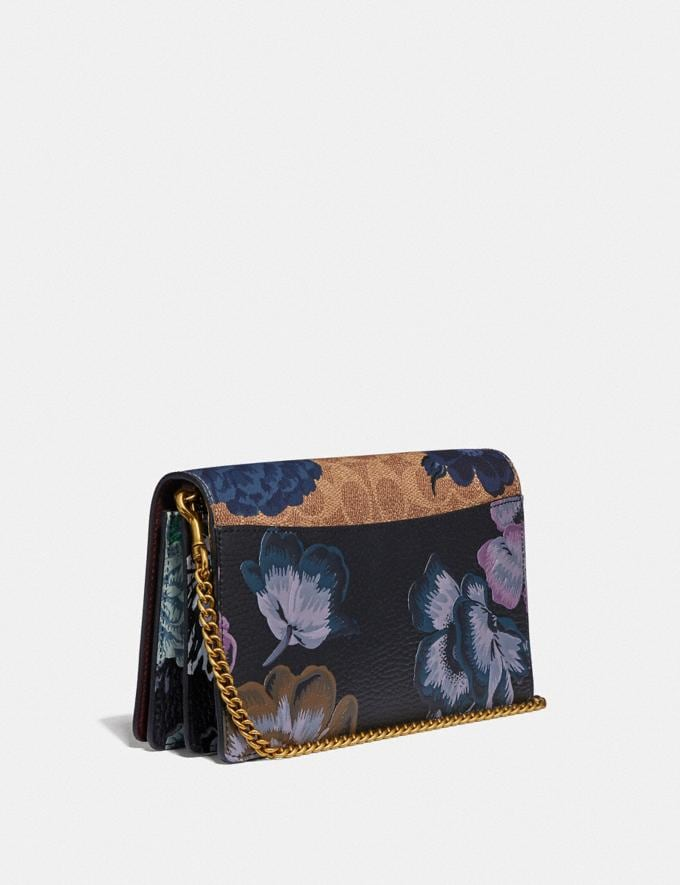 Coach Callie Foldover Chain Clutch in Signature Canvas With Kaffe Fassett Print B4/Tan Blue Multi Women Bags Crossbody Bags Alternate View 1