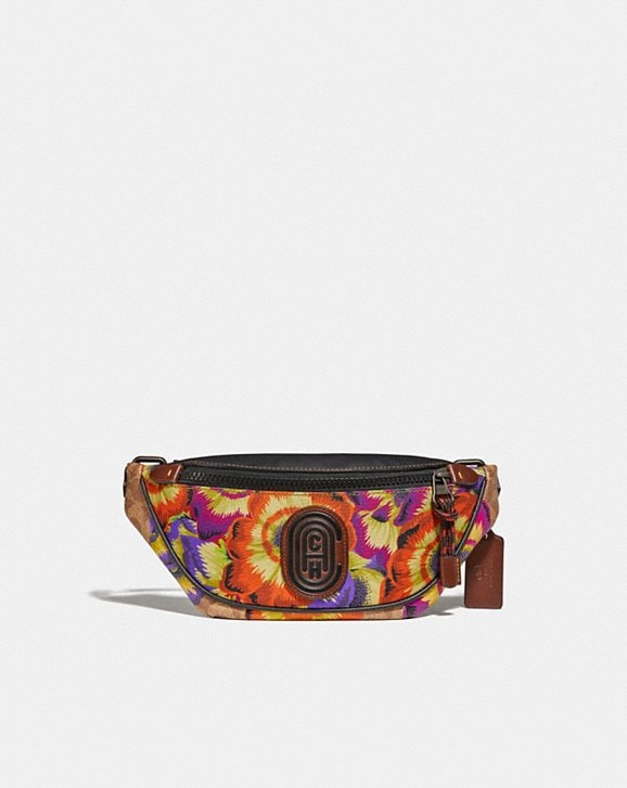 Coach MINI RIVINGTON BELT BAG IN SIGNATURE CANVAS WITH KAFFE FASSETT PRINT