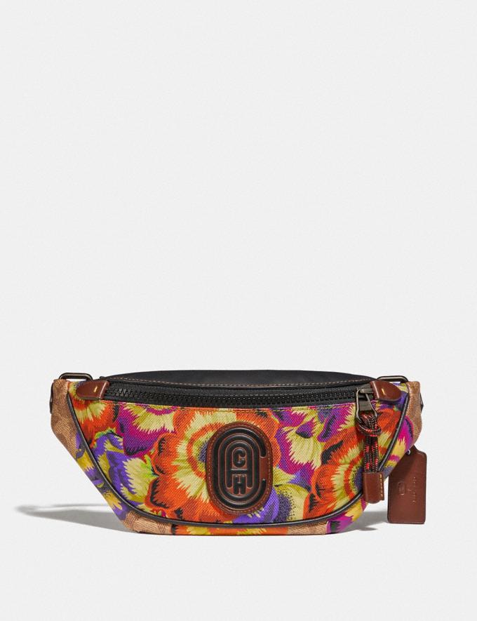 Coach Mini Rivington Belt Bag in Signature Canvas With Kaffe Fassett Print Tan/Multi/Pewter Women Handbags Belt Bags