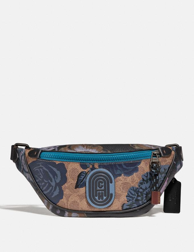 Coach Mini Rivington Belt Bag in Signature Canvas With Kaffe Fassett Print V5/Tan Blue Multi