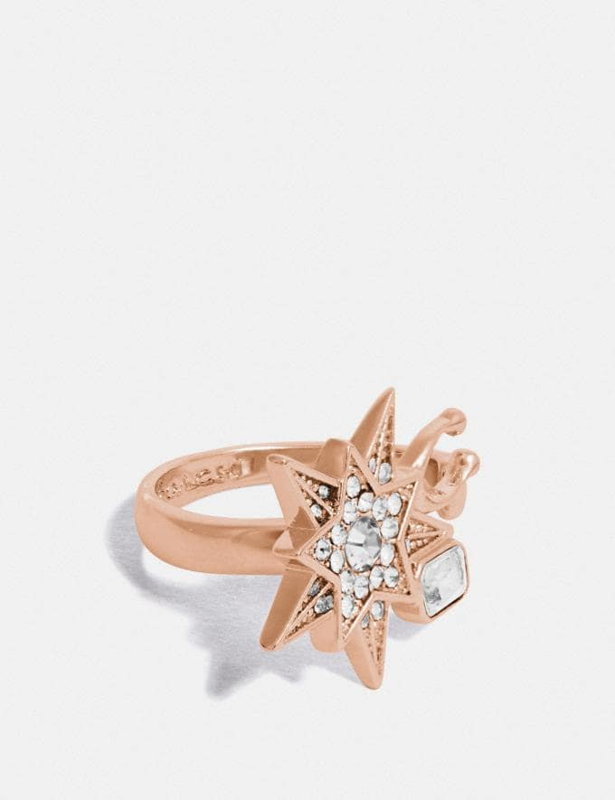 Coach Signature Star Ring Rose Gold/Grey