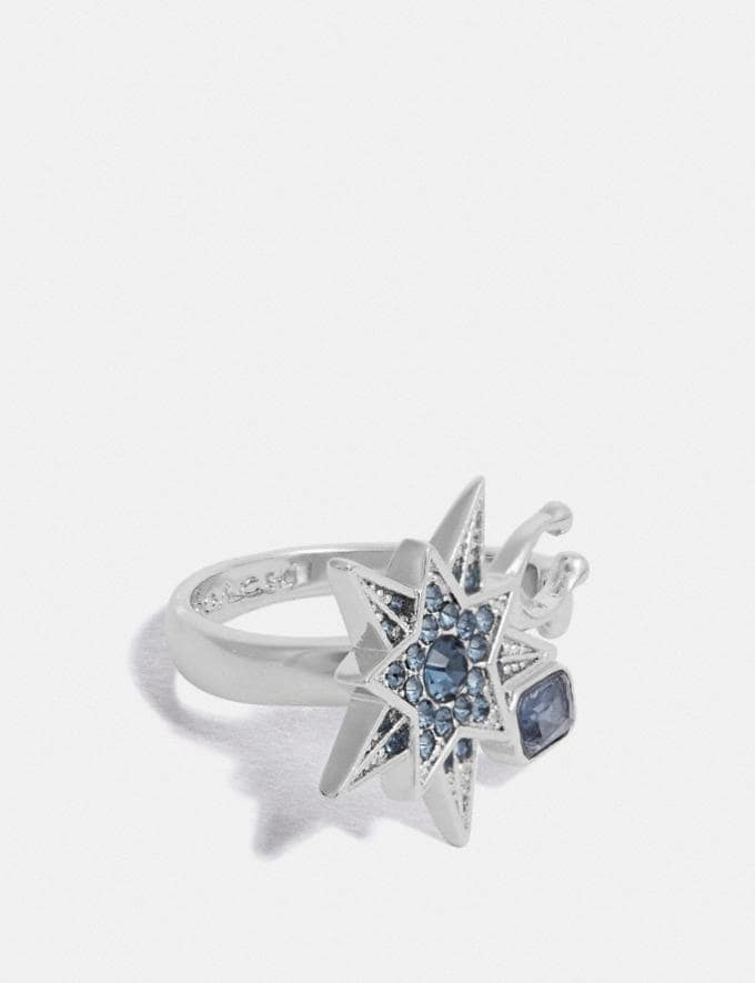 Coach Signature Star Ring Silver/Blue Women Accessories Jewelry & Watches
