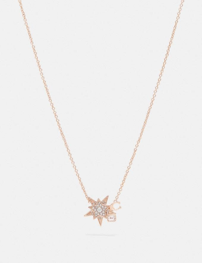 Coach Signature Star Necklace Rose Gold/Grey Women Accessories Jewelry & Watches