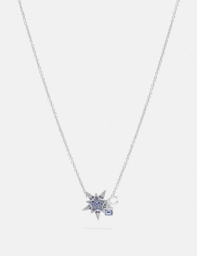 Coach Signature Star Necklace Silver/Blue Women Accessories Jewellery