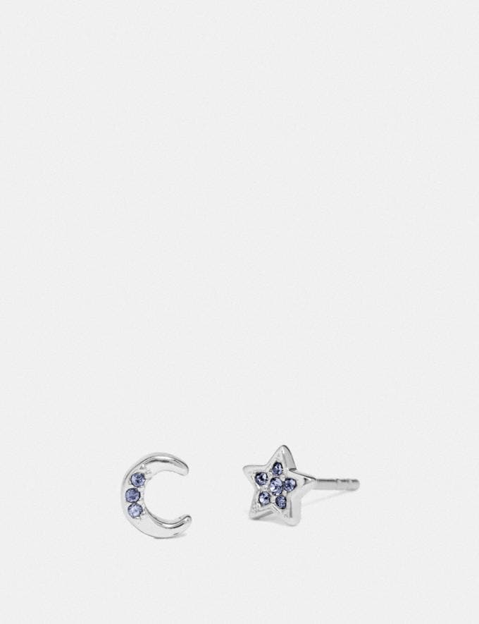 Coach Signature Moonstar Stud Earrings Silver/Blue SALE 75% OFF Employee Lifestyle View All