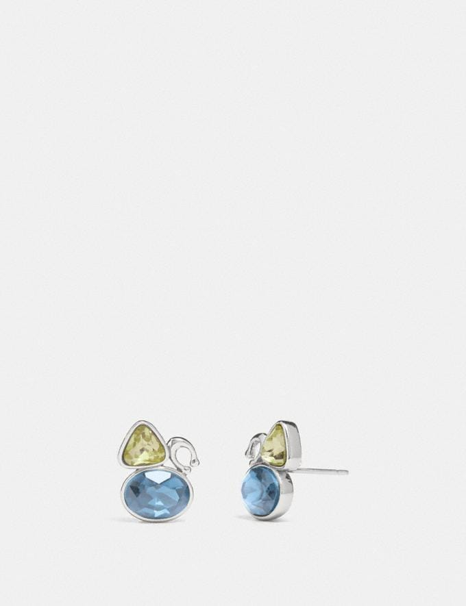 Coach Signature Crystal Cluster Stud Earrings Silver/Blue Women Accessories Jewellery Earrings
