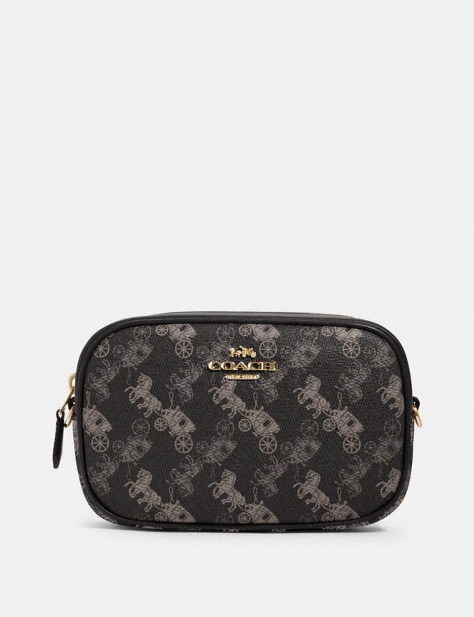 Coach Convertible Belt Bag With Horse and Carriage Print Im/Black Grey Multi