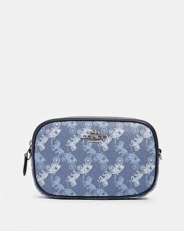 convertible belt bag with horse and carriage print