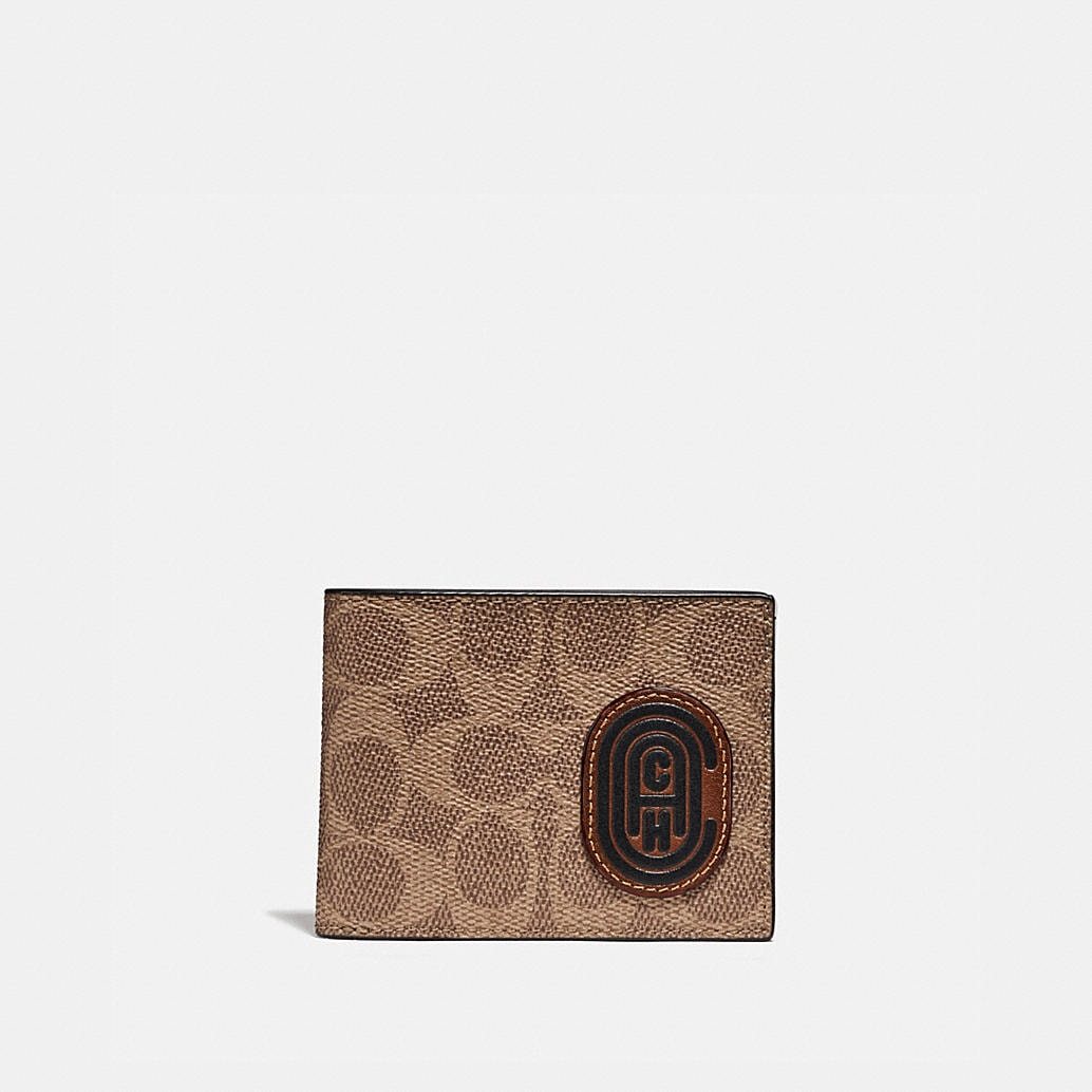 Slim Billfold Wallet With Signature Canvas Blocking And Coach Patch by Coach