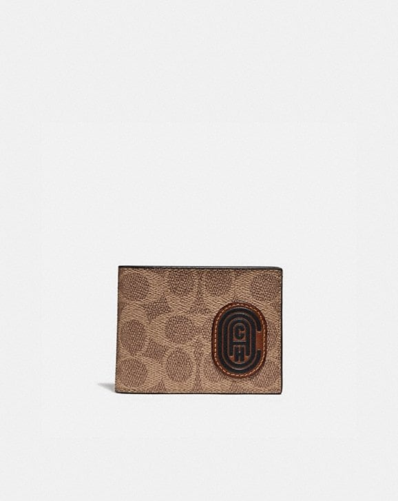 Coach SLIM BILLFOLD WALLET WITH SIGNATURE CANVAS BLOCKING AND COACH PATCH