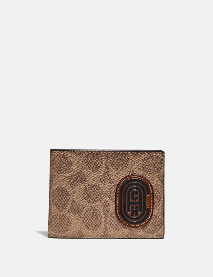 Coach Slim Billfold Wallet With Signature Canvas Blocking and Coach Patch Tan Signature Multi New Men's New Arrivals Wallets