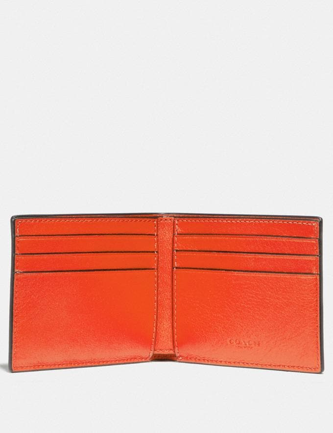 Coach Slim Billfold Wallet With Signature Canvas Blocking and Coach Patch Tan Signature Multi New Men's New Arrivals Wallets Alternate View 1