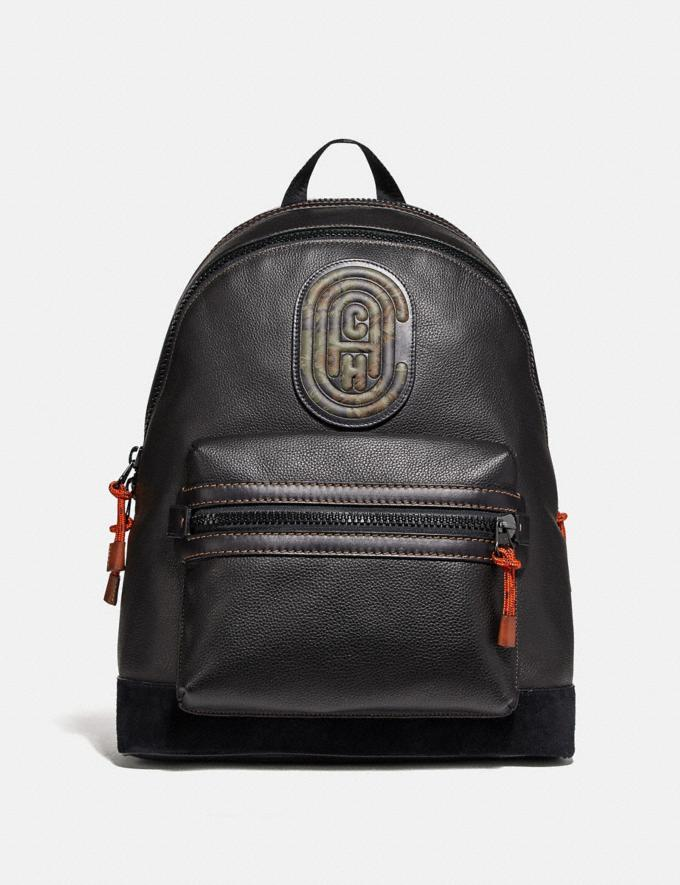 Coach Academy Backpack With Kaffe Fassett Coach Patch Black/Black Copper New Men's New Arrivals Collection