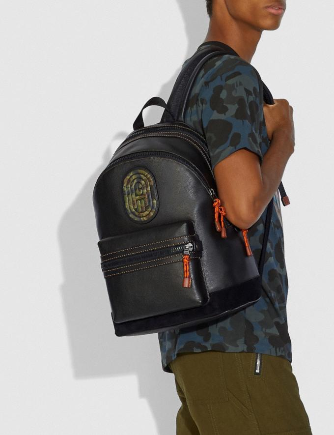 Coach Academy Backpack With Kaffe Fassett Coach Patch Black/Black Copper New Men's New Arrivals Collection Alternate View 3