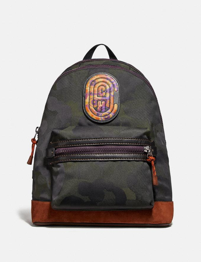 Coach Academy Backpack With Wild Beast Print and Kaffe Fassett Coach Patch Ji/Military Wild Beast